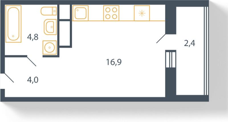Планировка Студия площадью 28.1 кв.м в ЖК «Пироговская ривьера»