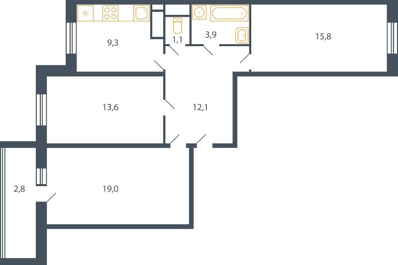 Планировка Трёхкомнатная квартира площадью 77.6 кв.м в ЖК «Пироговская ривьера»