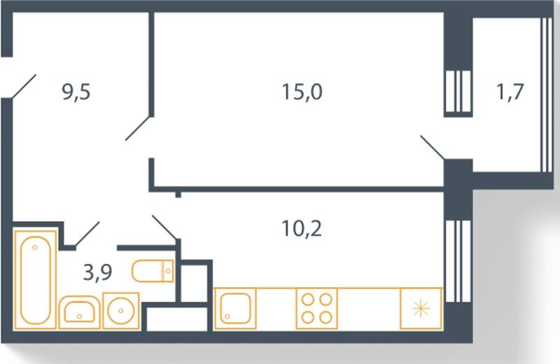 Планировка Однокомнатная квартира площадью 40.3 кв.м в ЖК «Пироговская ривьера»