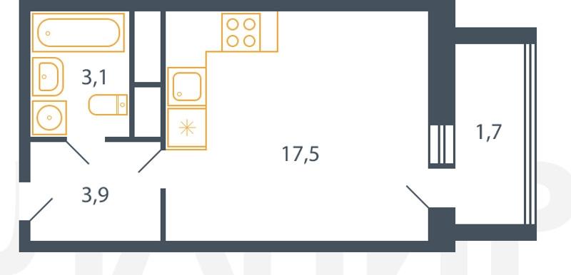 Планировка Студия площадью 26.2 кв.м в ЖК «Пироговская ривьера»